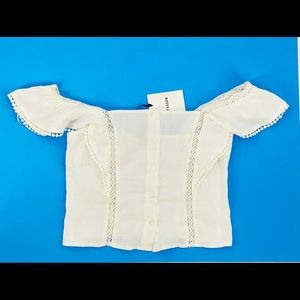 Farrow White Ruffled Cropped Square Neck Off Shoulder Front Button Blouse Small